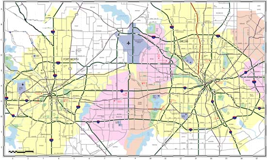 Search Maps in the Dallas-Fort Worth areas on